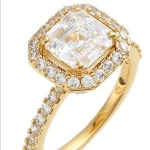 Nadri 18k gold plated CZ square Halo ring 5
